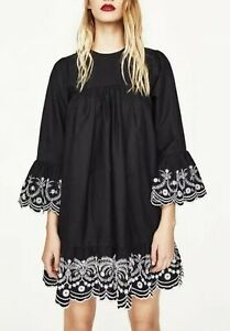 NEW-WITH-TAGS-Zara-Basic-Special-Collection-Black-dress-with-embroidery-size-S