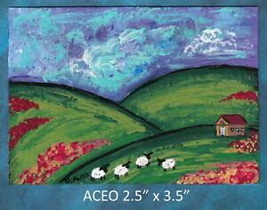 Original-ACEO-Sheep-Farm-House-Abstract-miniature-acrylic-painting