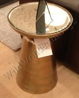 Pottery Barn Octavia Accent Side Table Antique Gold 22 Mirror Top
