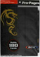 (10) Bcw-pro18s-blk Bcw Black Trading Card Binder Pages Page Holds 18 Cards