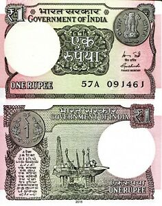 India 1 Rupees Banknote World Paper Money UNC Currency Bill Note