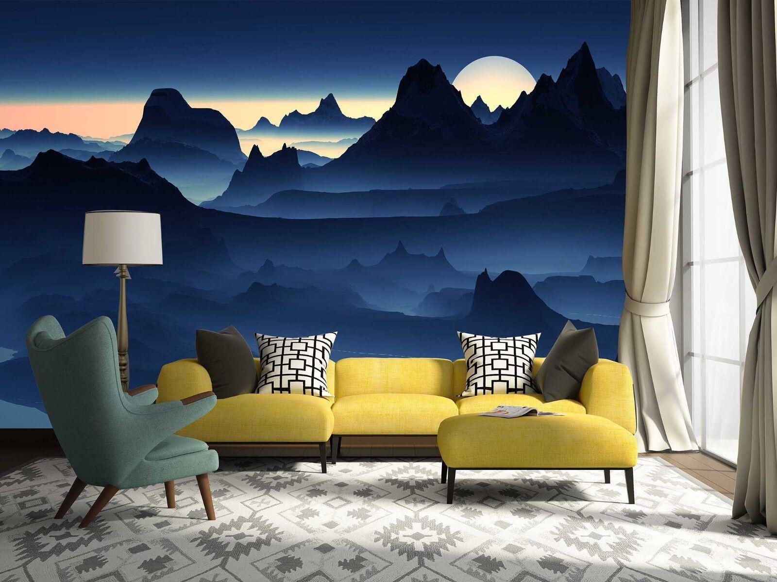 3D Mond Berg Natürlich 7893 Tapete Wandgemälde Tapeten Bild Familie DE Lemon