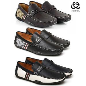 mens smart leather shoes casual designer moccasins slip on