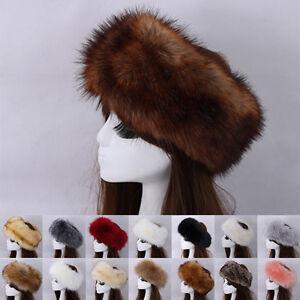 184787686 Women Black Faux Fur Hat Russian Winter Warmer Ear Cap Ushanka ...