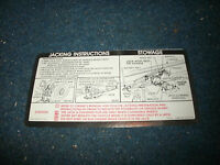 1973 Chevrolet / Gmc Truck Jack Instructions Decal Sticker