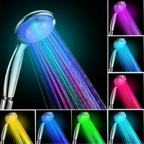 LED Duschkopf Duschbrause Brausekopf Automatic 7 Farbe mit Licht Farbwechsel C/&