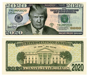 Pack-of-25-Donald-Trump-2020-Re-Election-Presidential-Novelty-Dollar-Serious