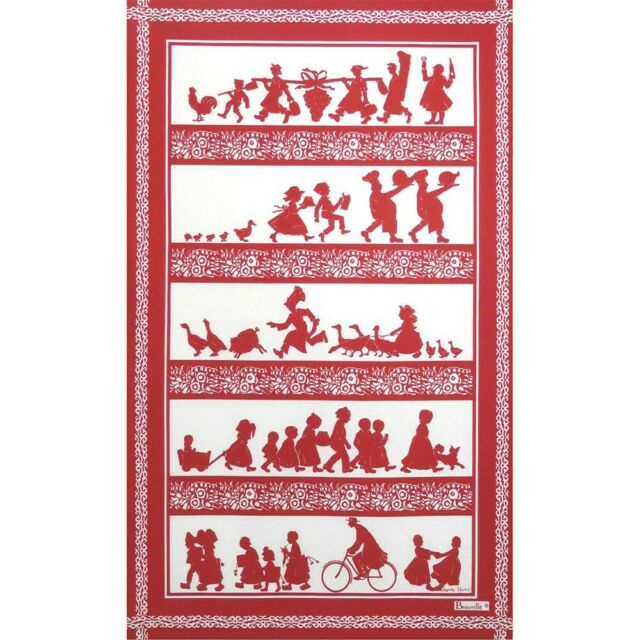 BEAUVILLE French Kitchen Tea Towel PAMPILLES Christmas Tree Ornaments Hearts Red