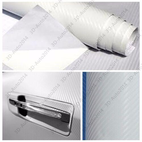 5ft X10ft White 4D GLOS Carbon Fiber Vinyl Air Release Pockets Bubble Free