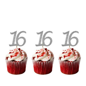 Image Is Loading 16th Birthday Cupcake Toppers Number 16 Party Glittery