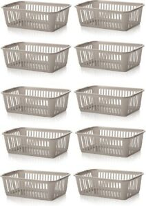 10x-Whitefurze-Plastic-Nestable-Handy-Tidy-Storage-Basket-Tray-25cm-Silver