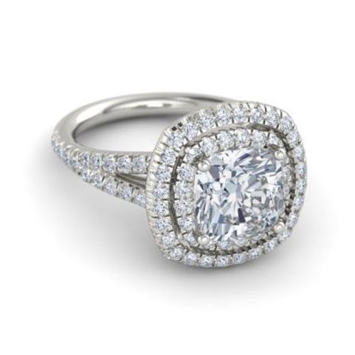 2.50 Ct Cushion Cut Diamond Engagement Ring 14K Solid White gold Rings Size 6 7