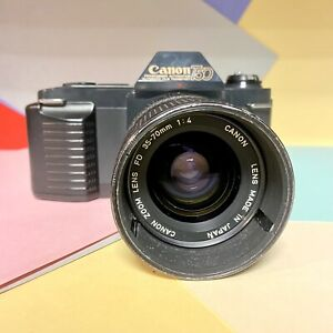 Fotocamera-Canon-T50-Film-SLR-con-35-70mm-F-4-CANON-ZOOM-LENS-lavorando-LOMO-Retro