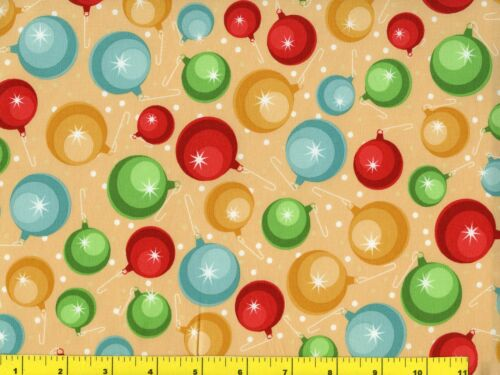 Red Green Blue Gold Ornaments Christmas Quilting Fabric by the Yard  #3079