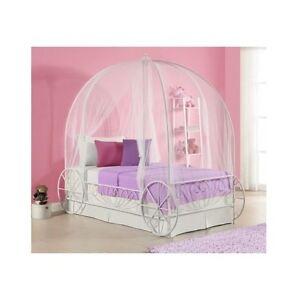 twin metal cinderella princess pumpkin carriage white bed frame canopy disney ebay. Black Bedroom Furniture Sets. Home Design Ideas