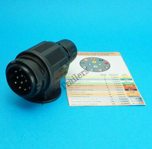 13 Pin Remolque Enchufe para Caravana /& Remolque-cumple con la norma ISO 11446 #TPA