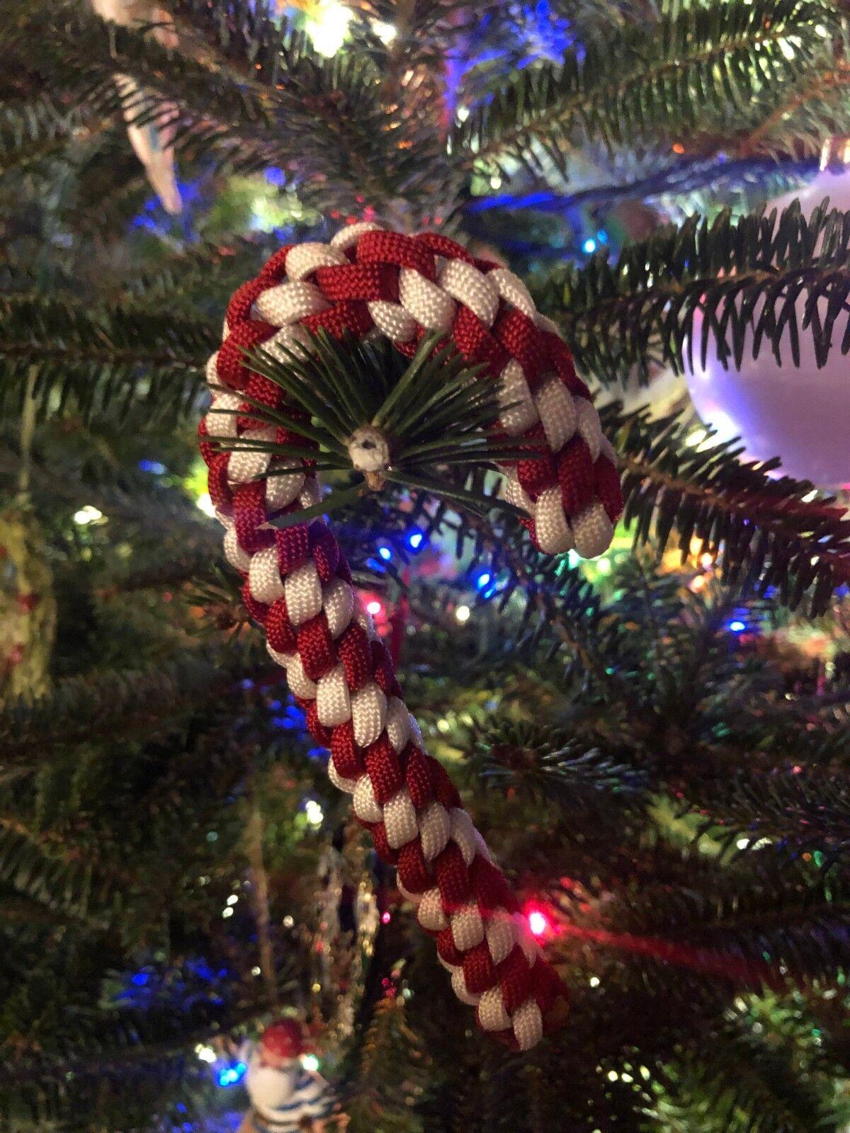 Paracord Candy Cane Cane Cane Christmas Ornament 5e5c8f