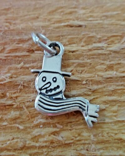 Sterling Silver 15x15mm petit bonhomme de neige face Holiday Christmas Charm