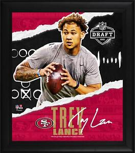 "Trey Lance SF 49ers Framed 15"" x 17"" 2021 NFL Draft Day Collage - Facsimile"