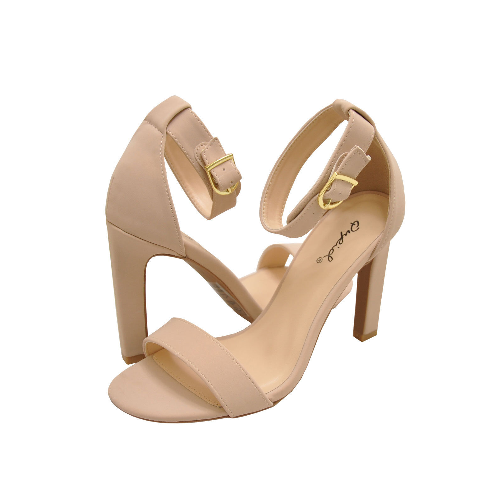 Women's shoes Qupid Hurst 01 Open Toe Ankle Strap Sandal Heels Nude New