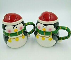 2x-Bella-Casa-by-GANZ-Holiday-Penguin-Beverage-Soup-Mug-with-Lid-BC11062