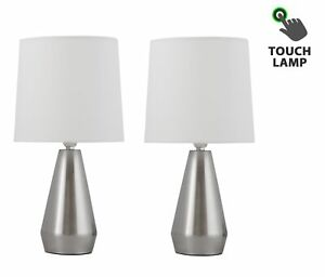 Details about Set of 2 Brushed Chrome Touch Control Table Lamp Bedside Lights Ivory Shades