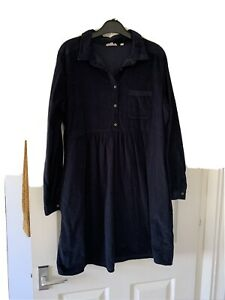 Fat Face Cord Shirt Dress Navy Blue Black Size 16 Worn Twice