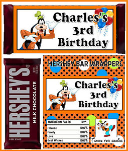 Goofy Birthday Party Favors Candy Bar Hershey Bar Wrappers Ebay