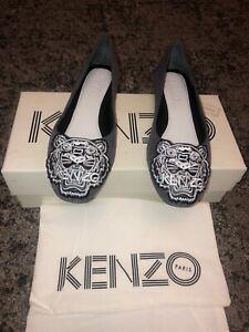 Kenzo Grey Tiger Flat Shoes Size