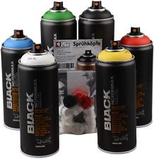 Sprühdosen Set Montana Black Grundfarben + schwarz & weiss 6x400ml + Cap-Pack