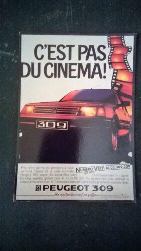 campagne d/'octobre 1985. Carte publicitaire pour la Peugeot 309