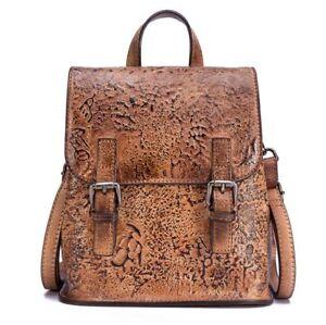 63b88c606b Image is loading New-Women-Genuine-Cow-Leather-Backpack-Handbag-Travel-