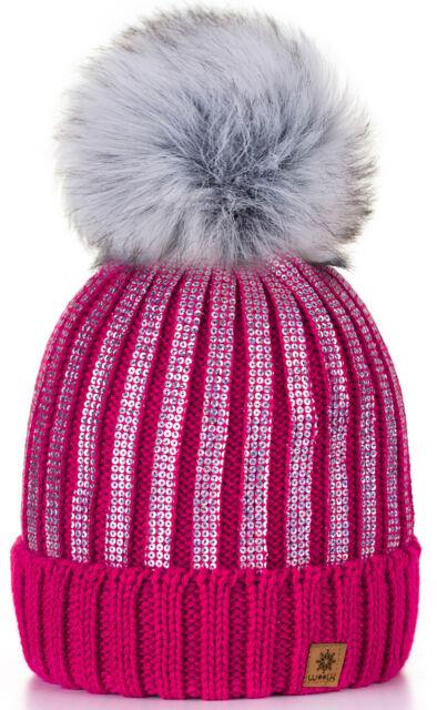 19467b24ea3 4sold Womens Ladies Winter Hat Knitted Beanie Large Pom Pom Cap Ski ...