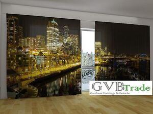 Vorhang Fotodruck fotogardinen nacht stadt fotovorhang panorama vorhang gardinen 3d