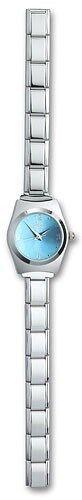 Ladies Italian Charm Wrist Watch Blue 9mm Stainless Steel Modular Link Bracelet