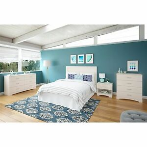4 Piece White Bedroom Set Full/Twin/Queen Size Home Furniture ...