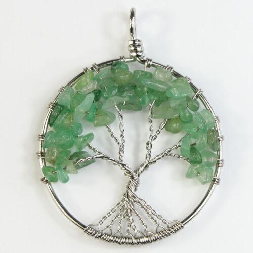 Amethyst Lapis Lazuli Peridot Crystal Tree of Life Reiki Chakra Silver Pendant