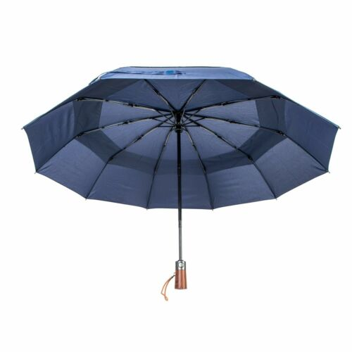 Wind Resistant Men/'s Strong Compact Umbrella 10 Ribs Vented Canopy Black