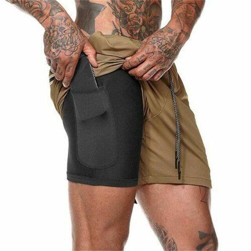 2 in 1 Summer Running Shorts Men Sports Jogging Fitness Shorts Training Gym NEW