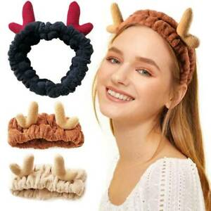 Girls-Women-Plush-Christmas-Elk-Headband-Face-Wash-Makeup-Hair-Bands-Hair-Wraps