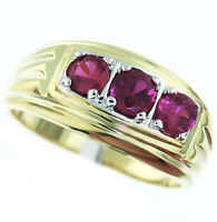 Three Ruby Red Stones Elegant Tutone Gold Ep Mens Ring