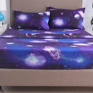 Moon and Stars Print Bed Sheet Set 3D Galaxy Bedding Collections 4 color,F,Q,K,T
