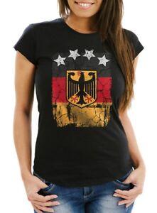 Cooles-Damen-WM-Shirt-Deutschland-Flagge-Vintage-2018-Fussball-Sterne