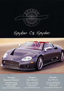 2007-Spyker-C8-Spyder-Classic-Vintage-Advertisement-Ad-PE100