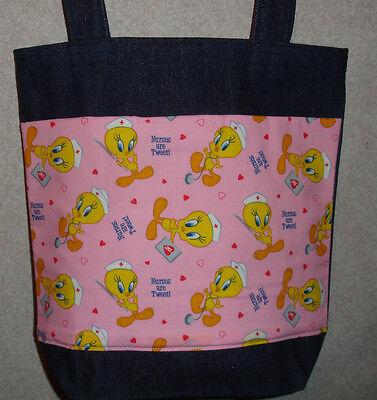 NEW Medium Denim Tote Bag Purse Handmade//w Wizard of Oz Tossed Characters Fabric