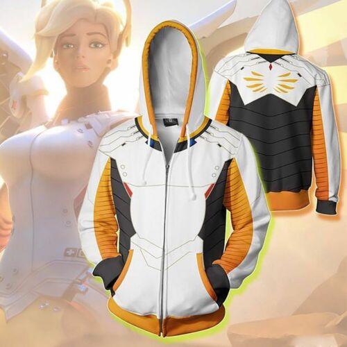 New Overwatch Mercy Angela Ziegler Hoodie Sweatshirt Cosplay Party Coat Jacket
