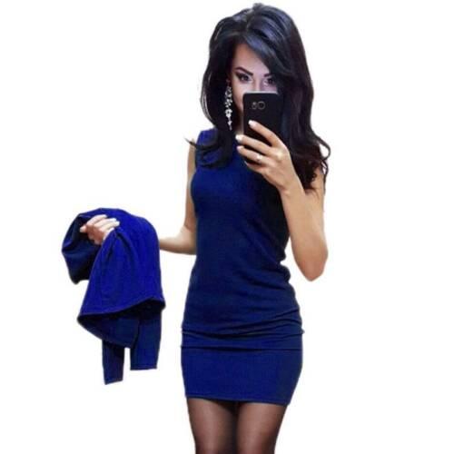 Damen 2tlg Büro Anzug Sets Blazer Strickjacke Jacke+Ärmellos Bodycon Minikleid