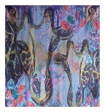 Designer SILK SCARF Square ✦ 100% SILK ✦ Bright Giraffe by Coco & Sebastian
