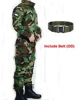 Tactical Military Combat Mens Uniform Suit Jacket Shirt & Pant Woodland Camo