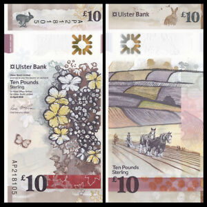Northern Ireland 10 Pounds p-new 2018 Ulster Bank UNC Banknote 2019